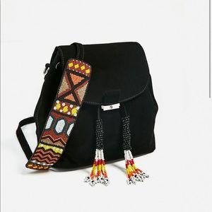 Split suede backpack